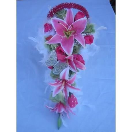 Bouquet mariée fushia et vert anis
