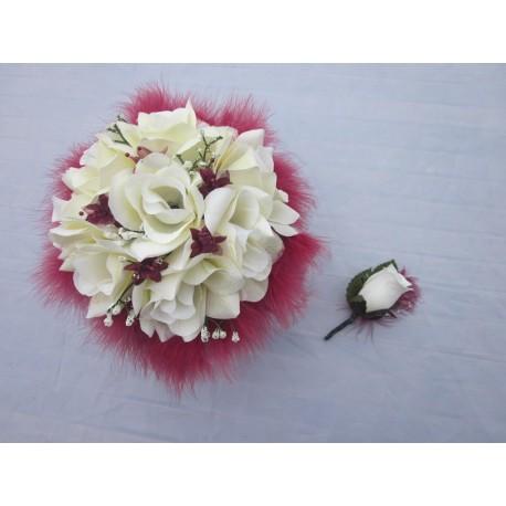 Bouquet mariée roses plumes ivoire / bordeaux