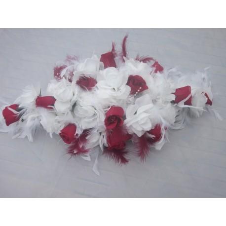 Bouquet de voiture plumes blanc/bordeaux