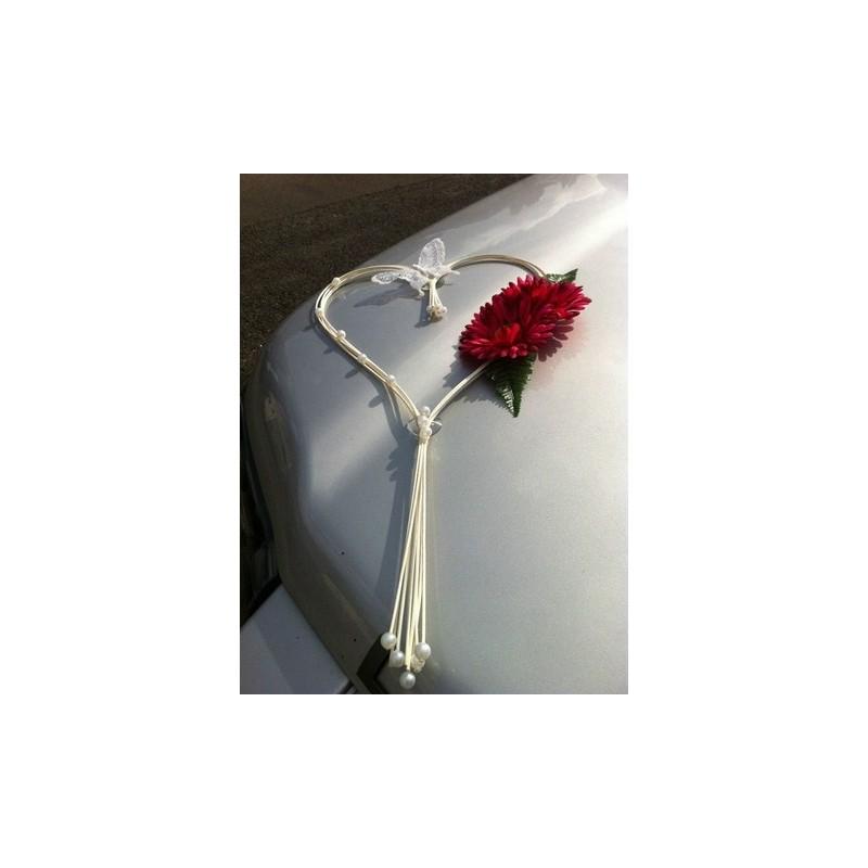 D coration pour voiture de mariage c ur de rotin sur - Ventouse pour decoration voiture mariage ...