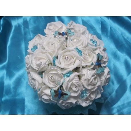 Bouquet mariée blanc turquoise