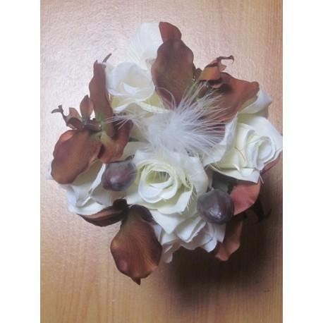 Bouquet rond orchidées chocolat