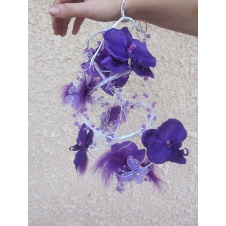 Bouquet poignet orchidées et papillons