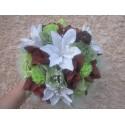 Bouquet mariée Rond chocolat / anis avec des lys, roses et œillets