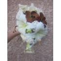 """Bouquet de Mariee tombant """"Chocolat Anis, Arums"""" avec des roses"""