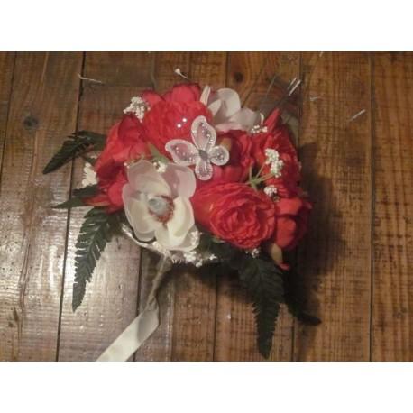 Promo! Bouquet de pivoines et renoncules rouge