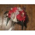 Promo! Bouquet de Mariée Rond avec pivoines et renoncules rouge