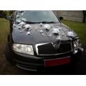 Décoration de voiture pour mariage avec plumes et roses