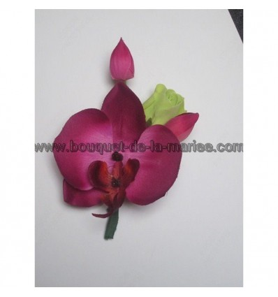Boutonnière fushia vert anis orchidée
