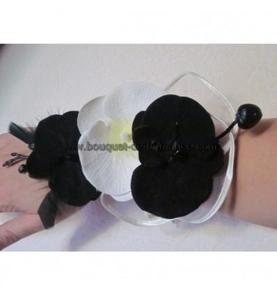 Bracelet orchidée noir et ivoire