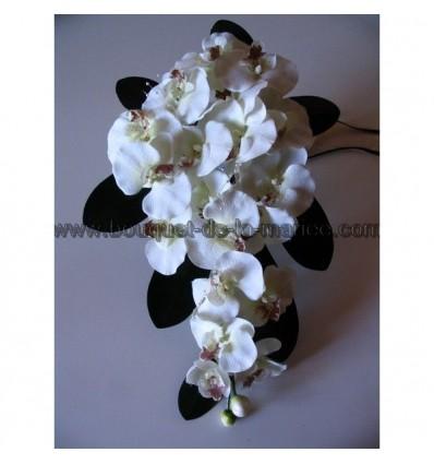Bouquet mariée ré-tombant orchidées