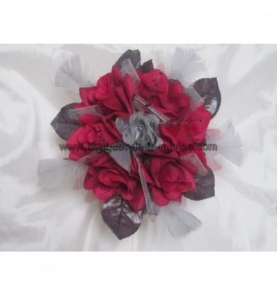 bouquet mariée bordeaux noir et gris