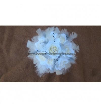 Lot privé bouquets et boutonnières ivoire argent noir