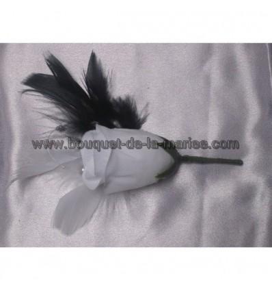Boutonnières noir et blanc plumes