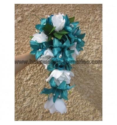 Bouquet mariée turquoise et blanc