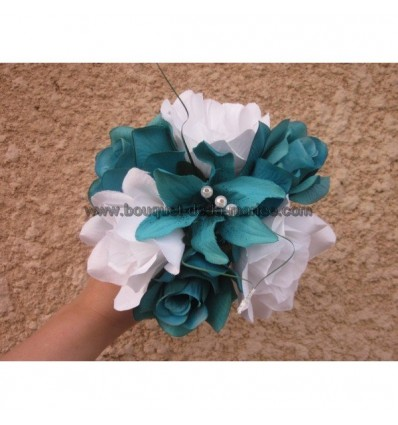 Bouquet turquoise blanc
