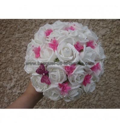Bouquet de mariée fuchsia diamantes