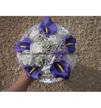 Bouquet mariée prune gris argent