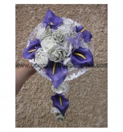 Bouquet mariée prune et gris argent