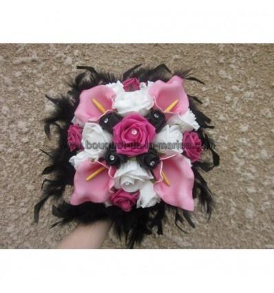 Bouquet noir et fushia