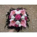 Bouquet mariage Rond thème noir et fuchsia avec Roses et Arums