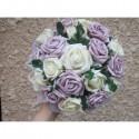 PROMO Bouquet mariage rond 22 cm parme avec roses et diamants