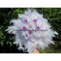 Bouquet + boutonnière couleur blanc et violet ou ivoire et violet