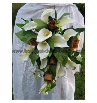 Bouquet mariee arums chocolat