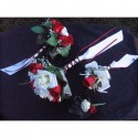 Lot de bouquets de fleurs pour mariage couleur blanc et bordeaux
