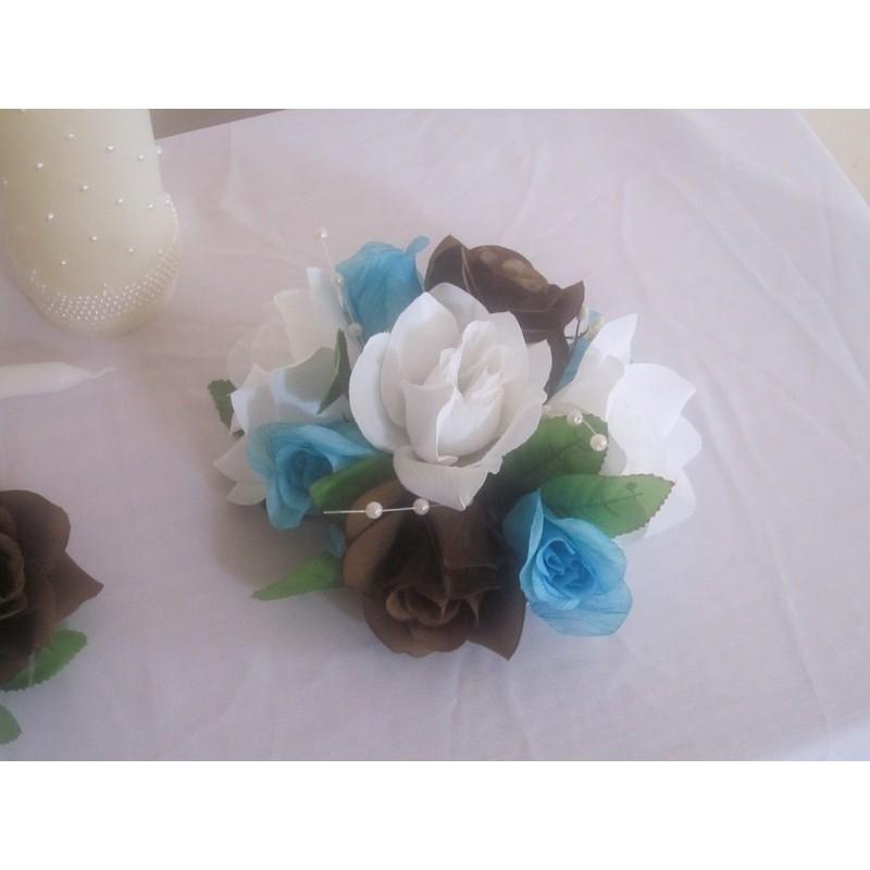 D coration table mariage 10x avec des roses turquoises for Decoration murale haut de gamme