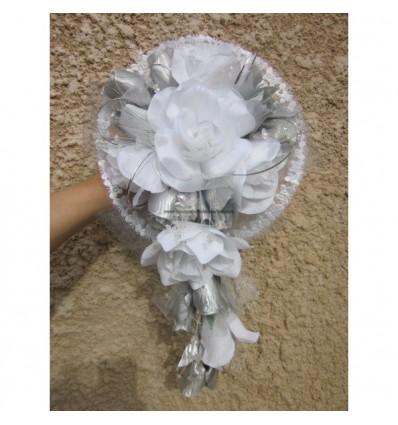 Bouquet mariee blanc et argent