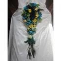 Elegant Bouquet de Mariee Cascade de thème Plumes de Paon