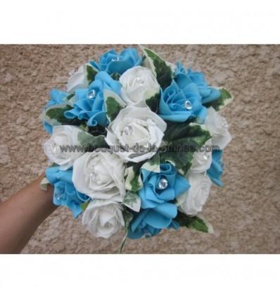 bouquet de mari e rond th me turquoise bleu et blanc avec roses bouquet de la mariee. Black Bedroom Furniture Sets. Home Design Ideas