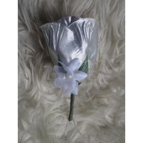 Bouquet mariée blanc gris argent