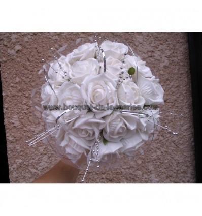 bouquet rond blanc et argent