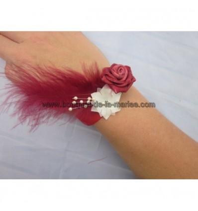 Bracelet de fleurs bordeaux et blanc