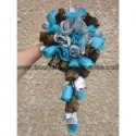 Bouquet de Mariée Tombant thème Turquoise, Chocolat et Argent