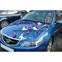 Décoration pour voiture mariage thème papillon, rotin, roses, perles