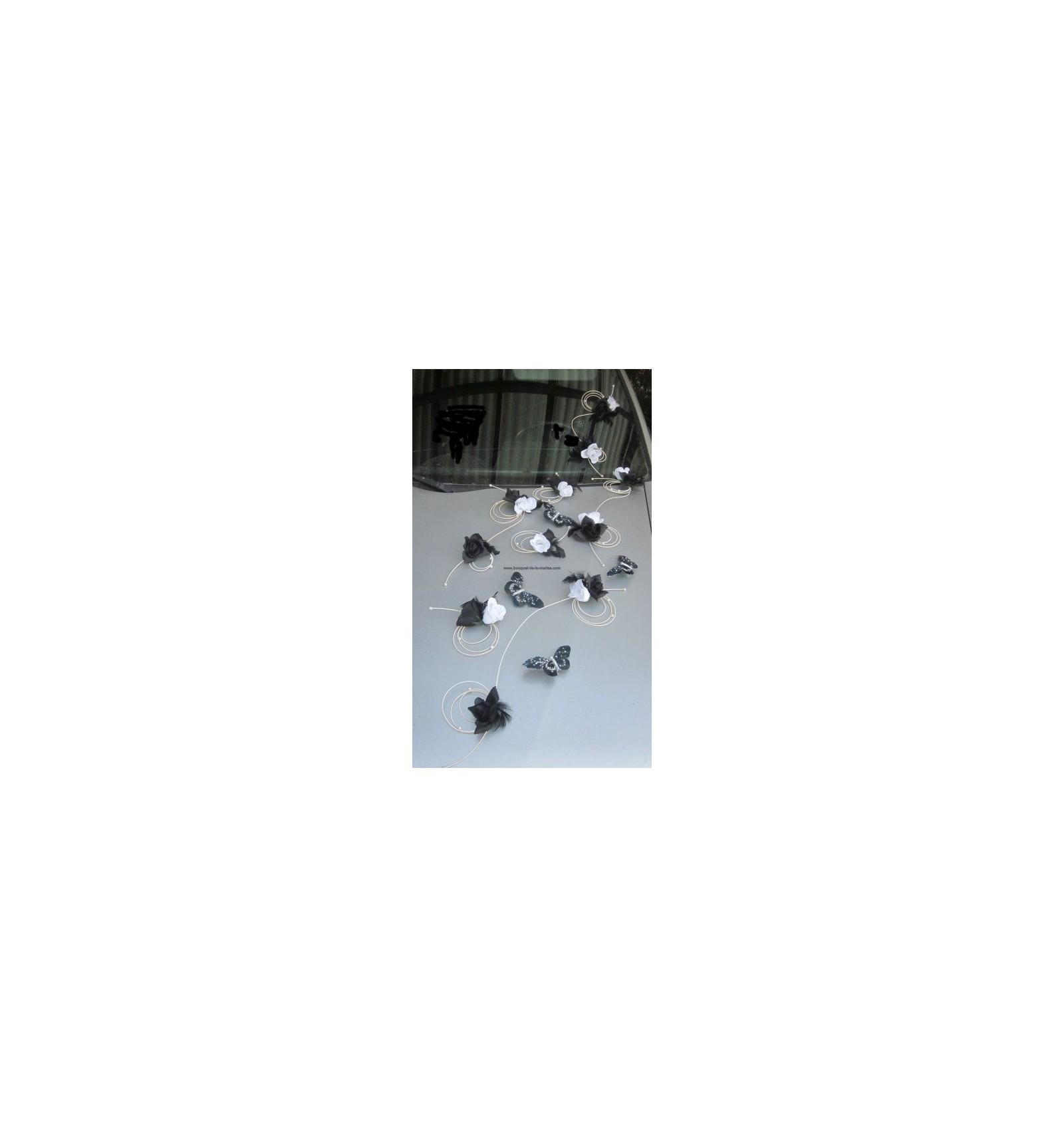 Id e d coration de voiture pour mariage avec papillons - Decoration voiture mariage noir et blanc ...