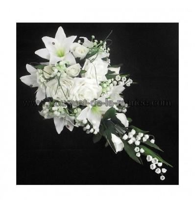 Bouquet mariée Roses, Lys et Gypsophile
