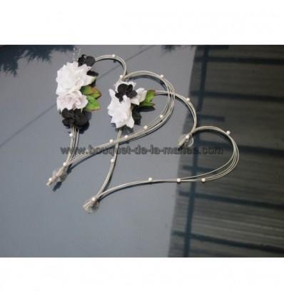 Decoration Voiture Mariage Coeurs Orchidee Noir Blanc Et Argent