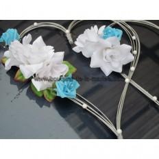 d coration voiture en forme de coeurs bouquet de la mariee. Black Bedroom Furniture Sets. Home Design Ideas
