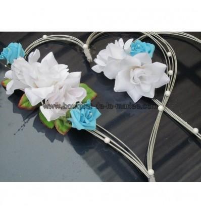 d coration voiture mariage c urs bleu turquoise blanc et argent bouquet de la mariee. Black Bedroom Furniture Sets. Home Design Ideas