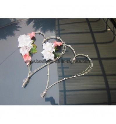 Coeurs argenté avec des roses et arums!