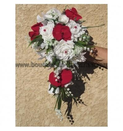 Bouquet d'orchidée rouge et blanc