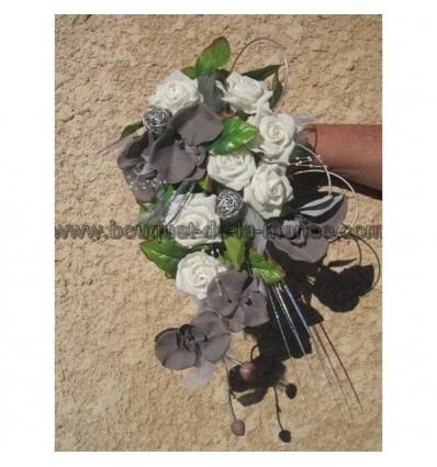 Bouquet de mariée orchidée gris argent