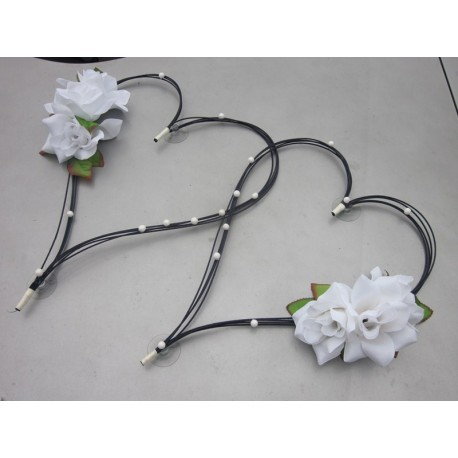 Coeurs noir/blanc ou noir/ivoire perlé