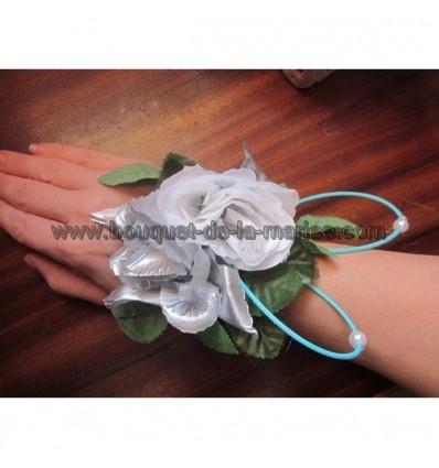 Bracelet turquoise, gris argent et perles