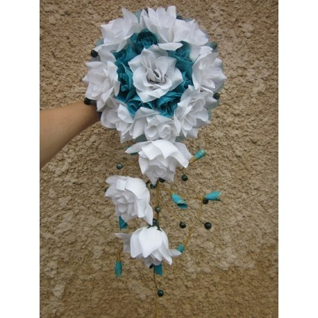 bouquet mariée tombant turquoise
