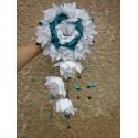 Bouquet Mariage Cascade Coup de cœur thème blanc, turquoise